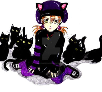 7 black cats by chaosqueen122