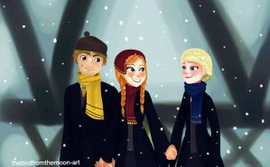 Frozen family in hogwarts by TheBirdFromTheMoon