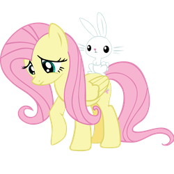 Fluttershy with Angel by Ocarina0fTimelord