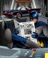 Batman reading newspaper by hamletroman