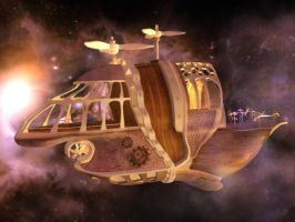 Steampunk spaceship: 2 of 3 by Aletheart