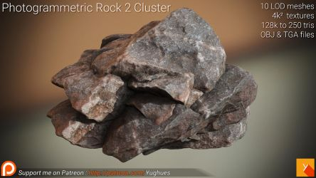 [Free] Photogrammetric Rock 2 - Cluster by Yughues