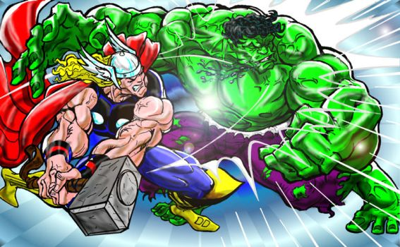 Thor vs Hulk Co-op work 8 by VictoryHero