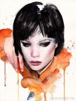 Alice Glass Watercolor Portrait by Laovaan