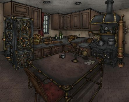 Steampunk Kitchen by Hitsukei