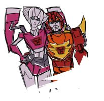 Rodimus and Arcee by SachiAmi