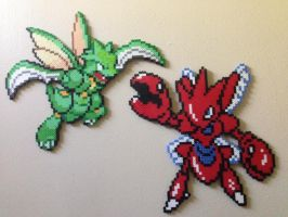 Scyther and Scizor perler