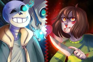 Genocide: Sans and Chara by RodgerJi
