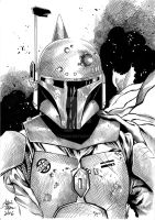 Boba Fett Sketch Inks by ARTTHAM