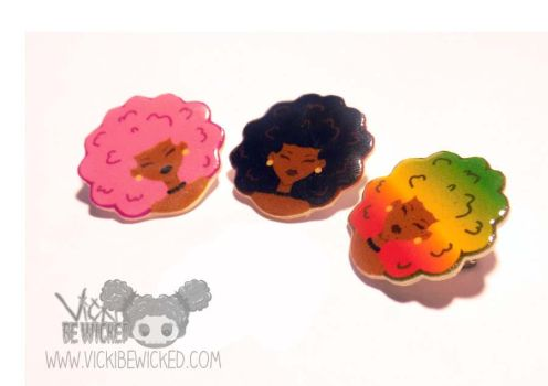 Afro Puff Girls Brooch Pins by VickiBeWicked