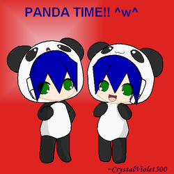 Twins in Panda Suit X3 by CrystalViolet500