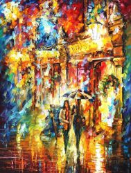 Best Friends In The City by Leonid Afremov by Leonidafremov