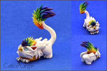 Iris the rainbow griffin - polymer clay by CalicoGriffin
