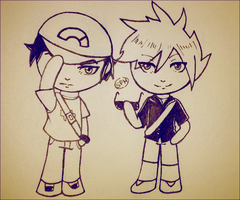 Pokemon | Red and Blue chibis | Inktober Day 27 by SpanishPandaHero