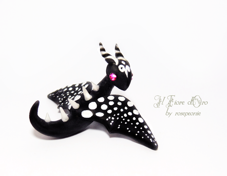 Baby Bat Dragon (black and white) by rosepeonie