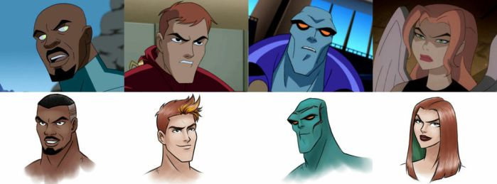 Justice League Unlimited Redesign (Part 2) by mariananaca