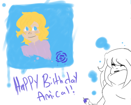 Happy birthday Amical - Water paint portrait. by raesnowgirl