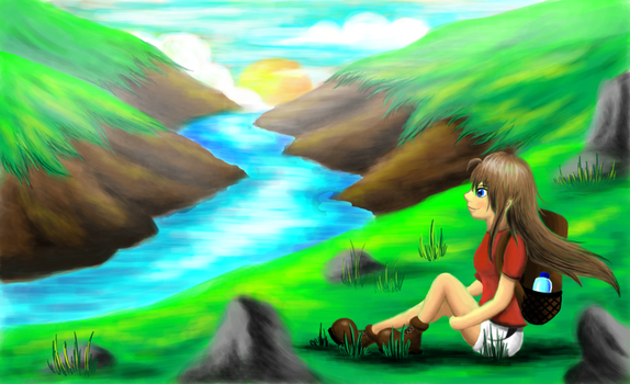 Girl sitting in the valley by SteveniX