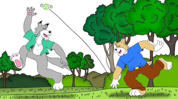 Playing fetch with TeaselBone by napalmhonour