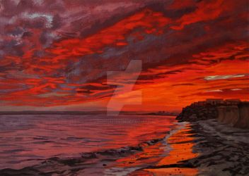 Fiery Red Sunset Over Garryvoe Beach by eastcorkpainter