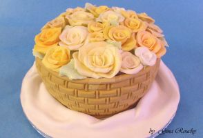 Basket of Flowers Cake by ginas-cakes