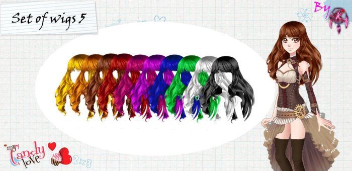 MCL pack- Set of wigs 5 by FNAFfanart67