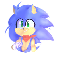 Lineless Sonic by Wade-Doodles