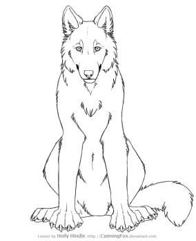 Free wolf lineart - Front view by Bear-hybrid