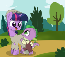 Young Twilight and Little Spike by EMositeCC