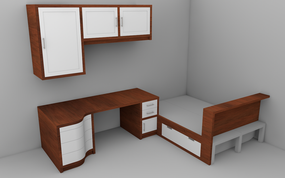 New Desk/Room Render 1 by steveee