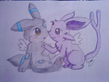 Espeon and Umbreon cutes by Annie1497