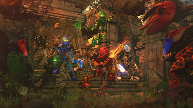 Toa Defense - Bionicle Poster [Source Filmmaker] by firedragonmatty