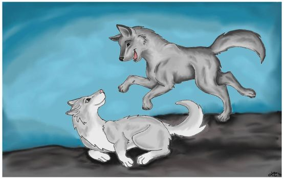 Art Trade - Playful Wolves by Follyfoot