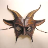 Leather Goat Mask black brown by teonova
