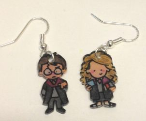 Harry and Hermione earrings by Lovelyruthie