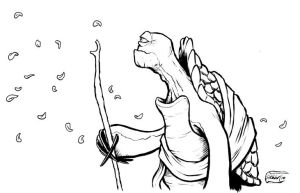 Oogway with petals by SethWolfshorndl