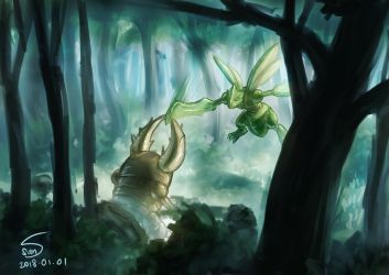 scyther and pinsir sparring by 000SanS000