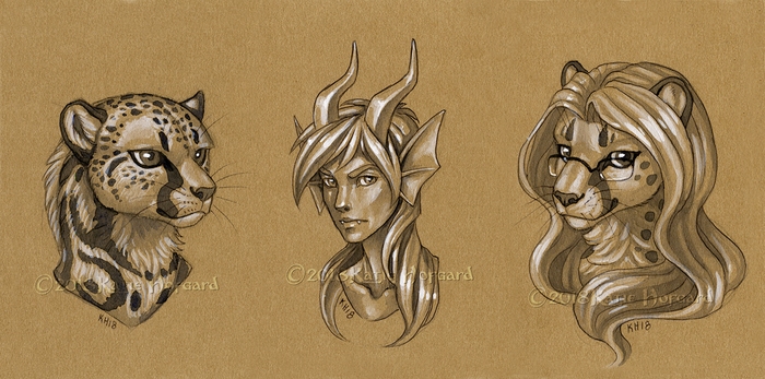 Toned Paper Busts for Donations by KatieHofgard