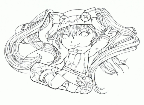 Hatsune Miku Winter Coloring Page by MirielMartell