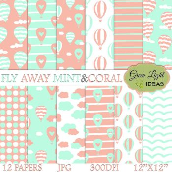 Hot Air Balloons Mint and Coral by GreenLightIdeasGLI