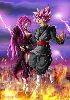 OC : Lady Rose and Goku Black by Maniaxoi