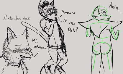 Strange sketches about a cat wearing shoes by Pokecrz