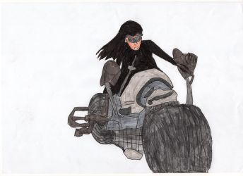 Catwoman On Motorcycle by LOrdalie