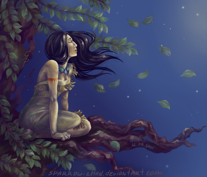 Disney: Pocahontas dreaming by sparrow-chan