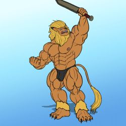 Anthro Muscle - Leomon by YourInnerBeast