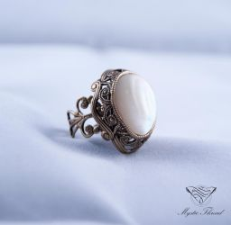 Mother of pearl  adjustable ring by mysticthread