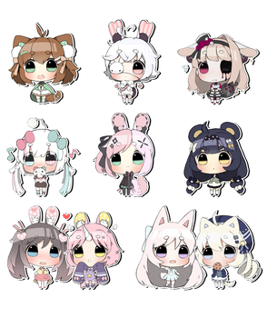 Sticker Chibis batch one! by RhoAmya