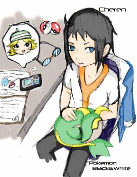 Cheren with snivy by pika55432z