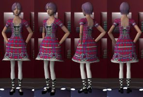 Sims2 Yuki Nagato Plaid Lolita by jactinglim