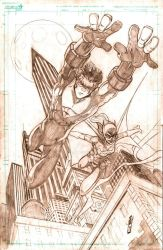 Nightwing and Batgirl Pencils by JazzRy